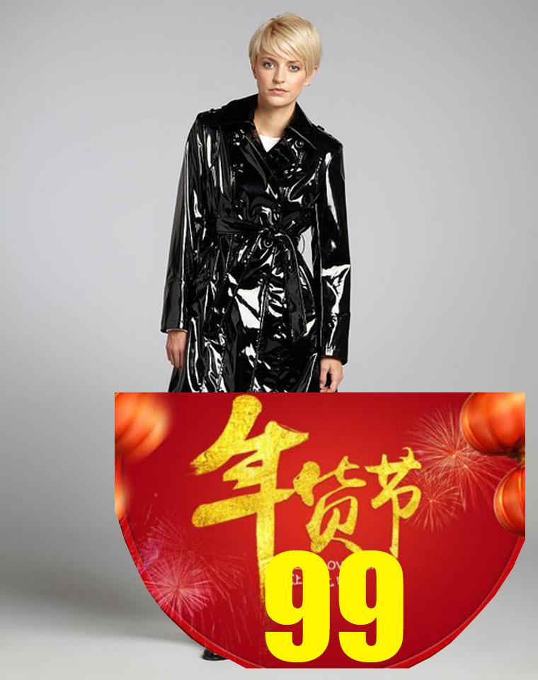 至IN漆皮风衣  仅128元  美国Dennis basso丹尼斯 纯正原单  经典黑色 亮面风衣