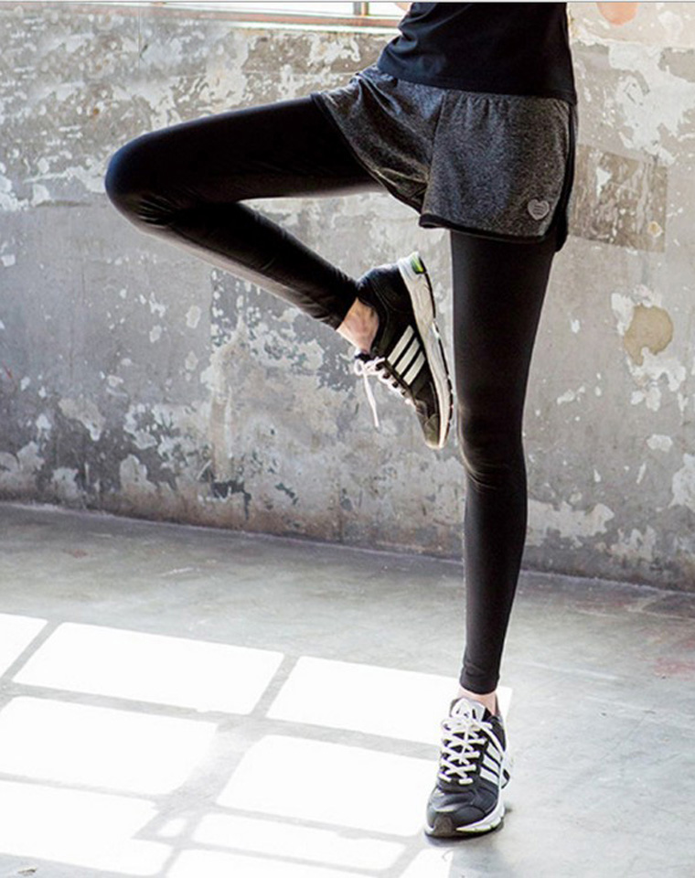 运动必备  仅59元   假两件速干运动裤  户外健身 打底裤假两件瑜伽裤