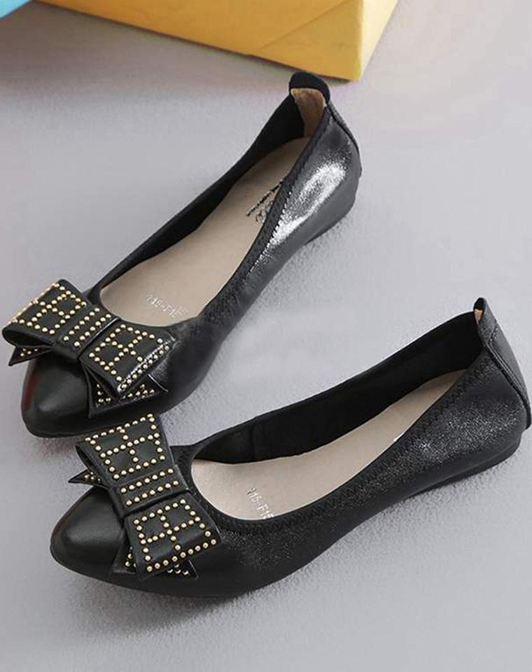 仅188元 ECCO代工厂货源  软皮铆钉蝴蝶结小船鞋 显脚瘦
