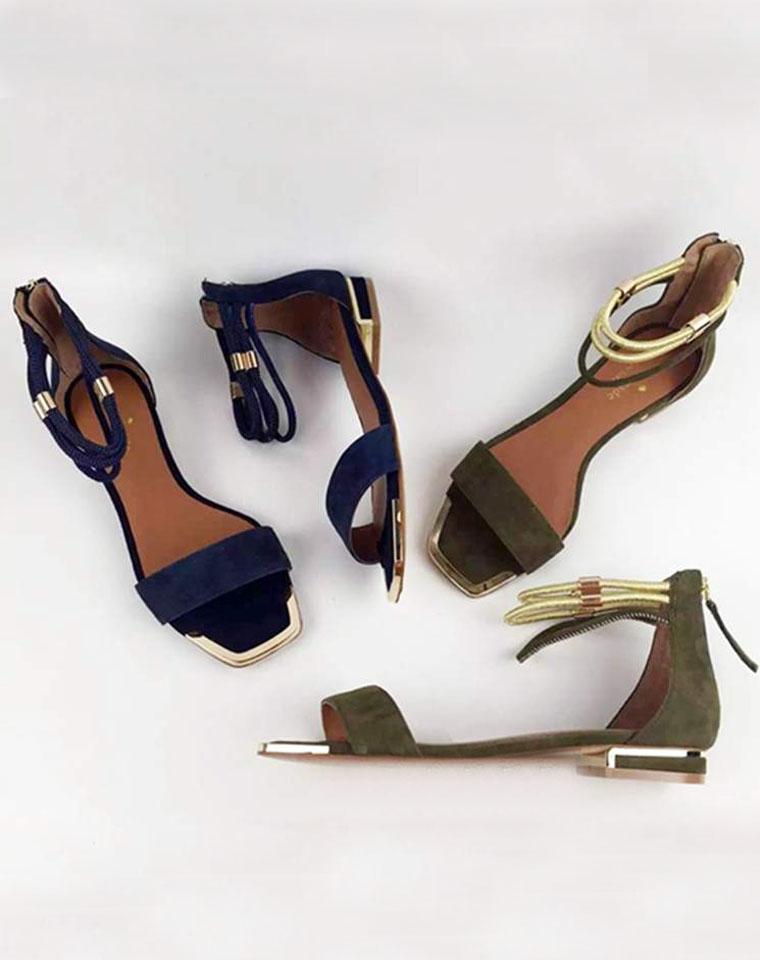 品质狂欢   特价一周  仅198元 一周后恢复原价  美国KATE SPADE反绒羊皮 金属装饰平底 一字凉鞋