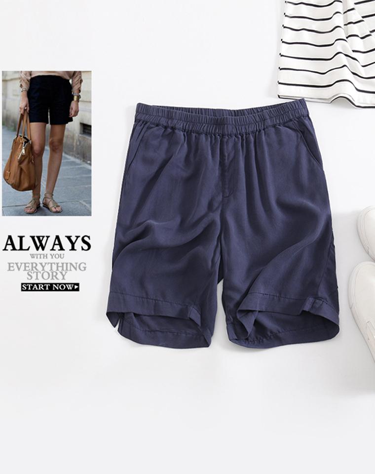夏日清凉  实穿百搭 仅89元  小日本订单   宽松显瘦   阔腿松紧腰铜氨丝短裤