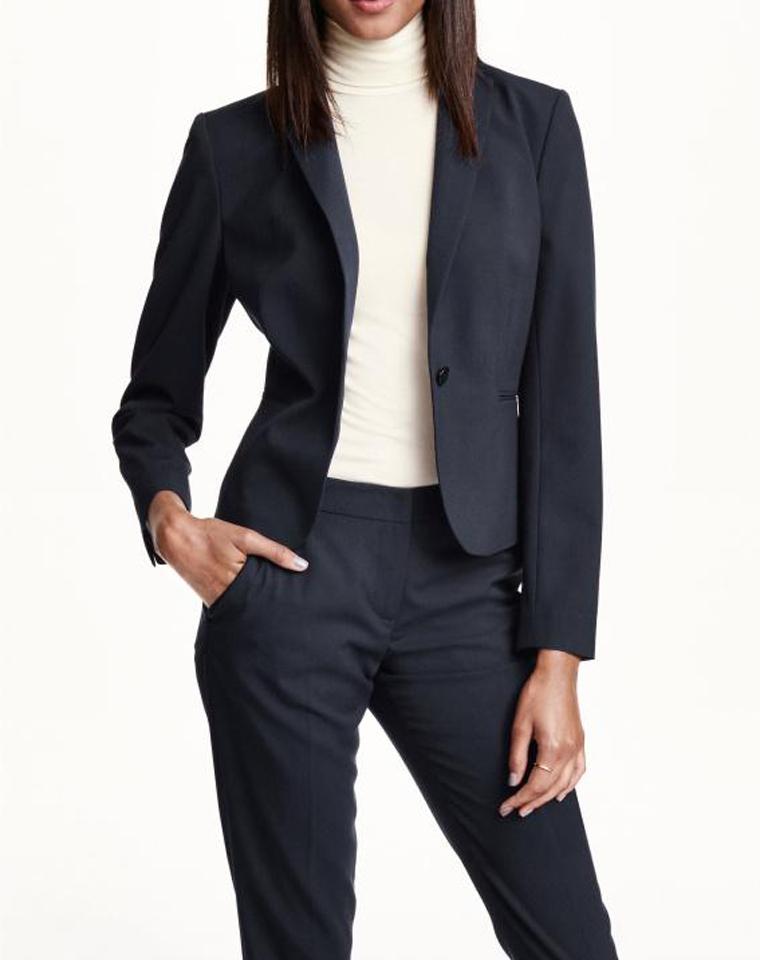 品质基本款 仅85元  H&M秋季最新  新款窄翻领 汗布修身 西装外套