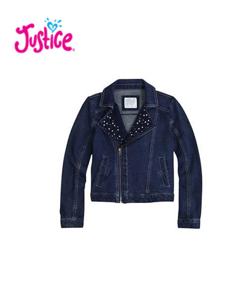 亲妈必收 仅85元 美国童装大牌Justice纯正原单  超靓 女童牛仔机车服