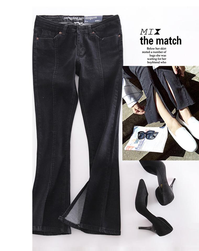 就是显瘦  仅98元 美国Amerian Eagle美国鹰  秋季最新  前开叉 中线微喇长裤牛仔裤