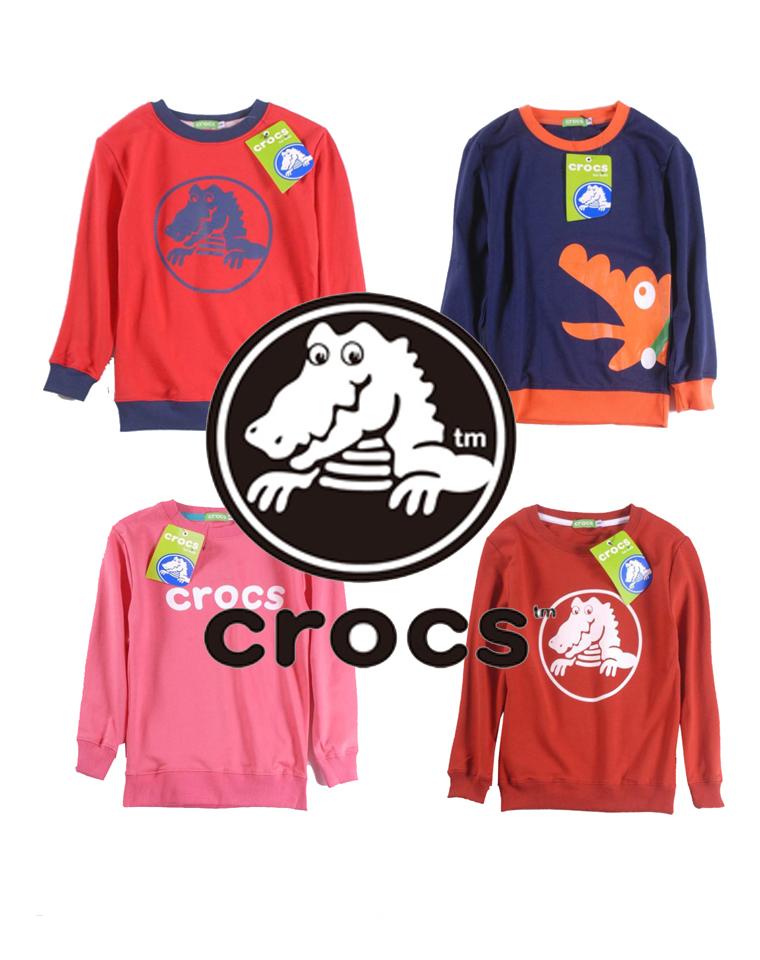 亲妈必收  仅49元 美国CROCS科洛斯纯正原单   男女童 LOGO 鳄鱼纯棉毛圈 套头卫衣