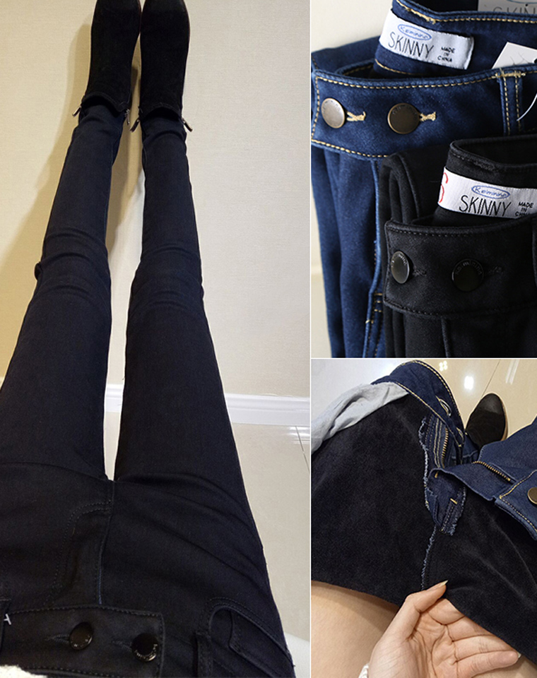 秋冬也要完美筷子腿  仅95元  秋冬新款  保暖加厚柔软  中腰经典加绒加厚牛仔裤小脚裤