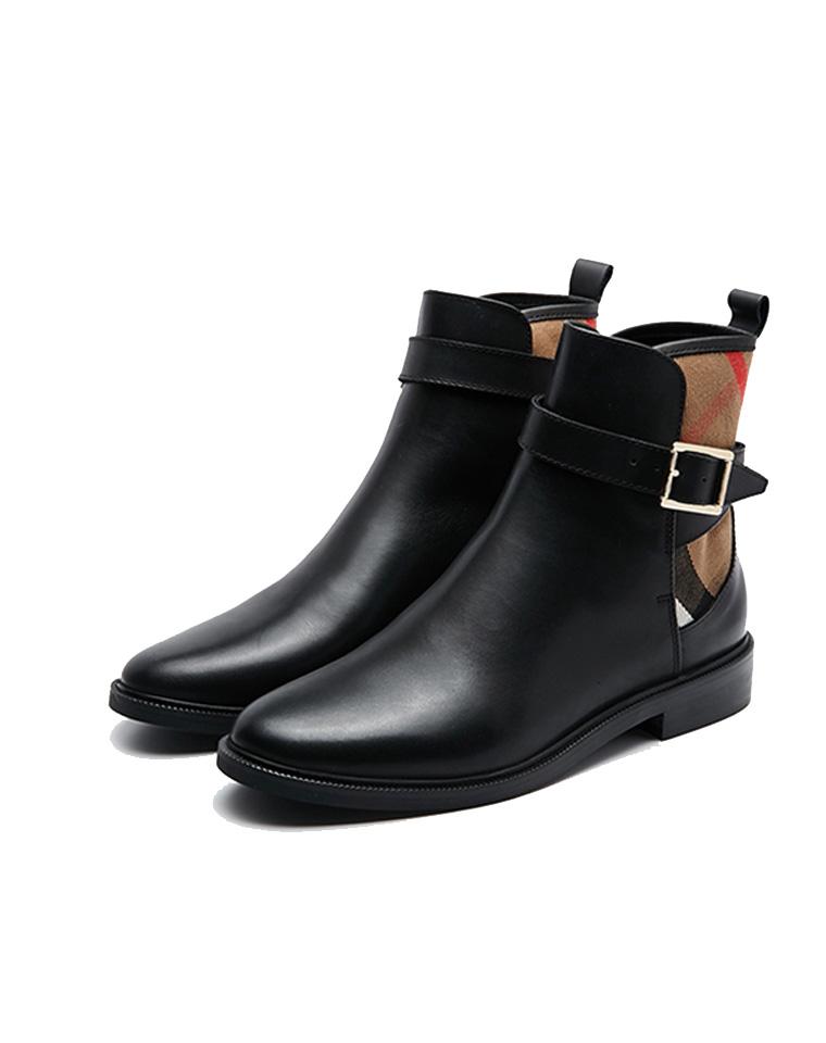 拯救审美  仅268元  特殊渠道 英伦burberry  薄绒及裸靴 真皮短靴 英伦风踝靴低跟搭扣马丁靴