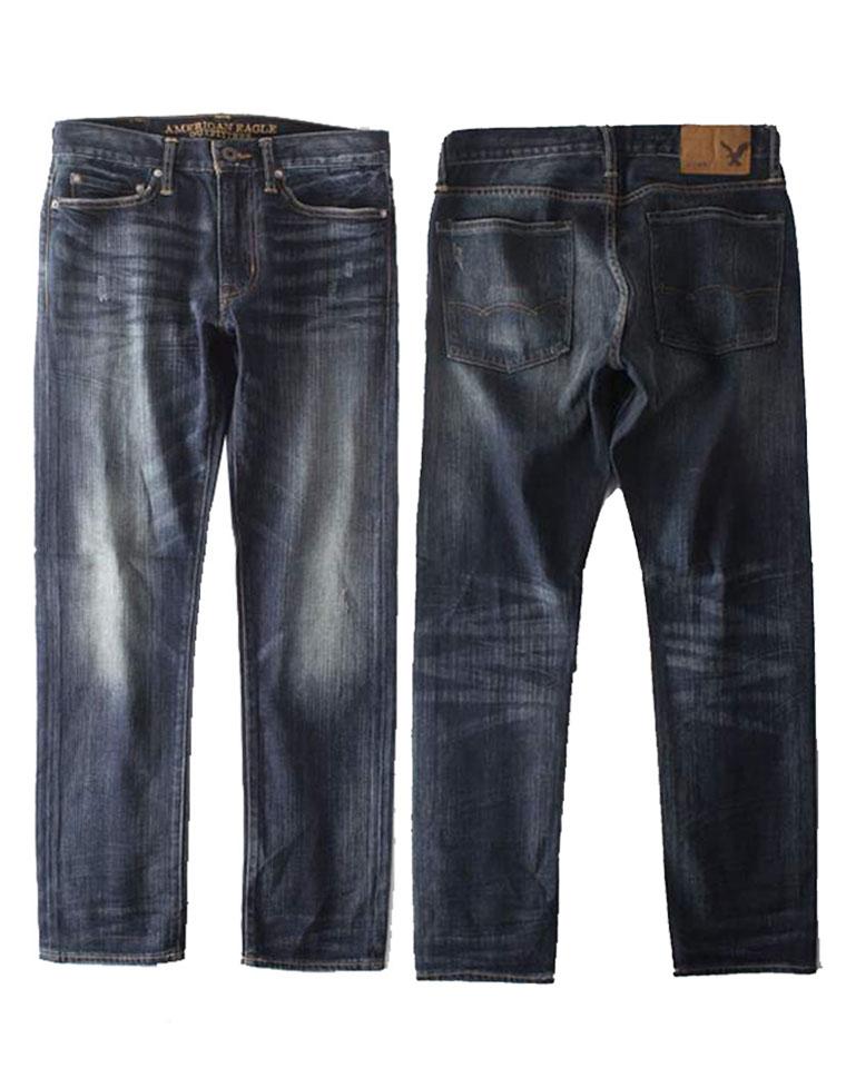 给纯爷们的福利  仅95元  美国American  eagle美国鹰纯正原单  高腰新款小直筒舒适猫爪印棉男士牛仔裤