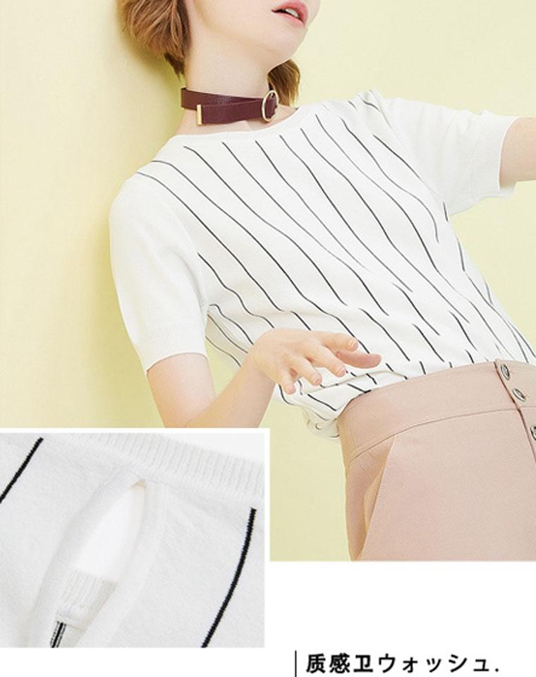 华伦天奴纯正原单  仅99元     春夏新款   蚕丝知性黑白配竖条纹丝光针织衫