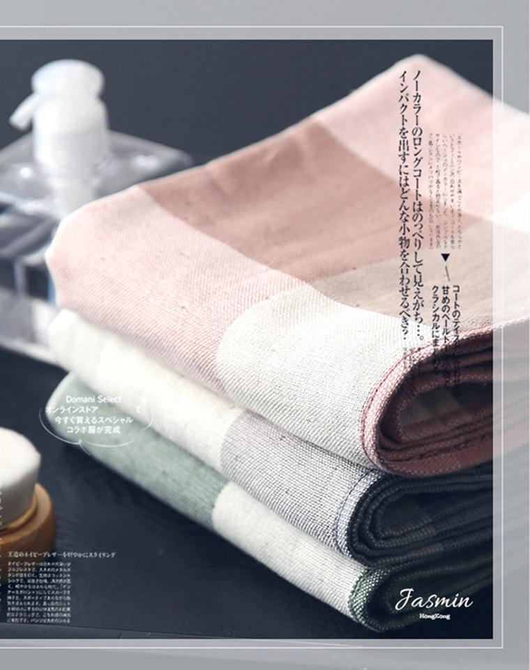 当世界充满平庸  总要有精品路过 仅12.9元  日本无印风订单 32股纯棉 细腻吸水双面毛巾 格子系棉纱圈绒手巾