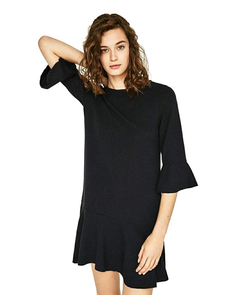 超显瘦  仅95元 西班牙ZARA  春款 螺纹 五分喇叭袖  显瘦荷叶边修身中长款连衣裙