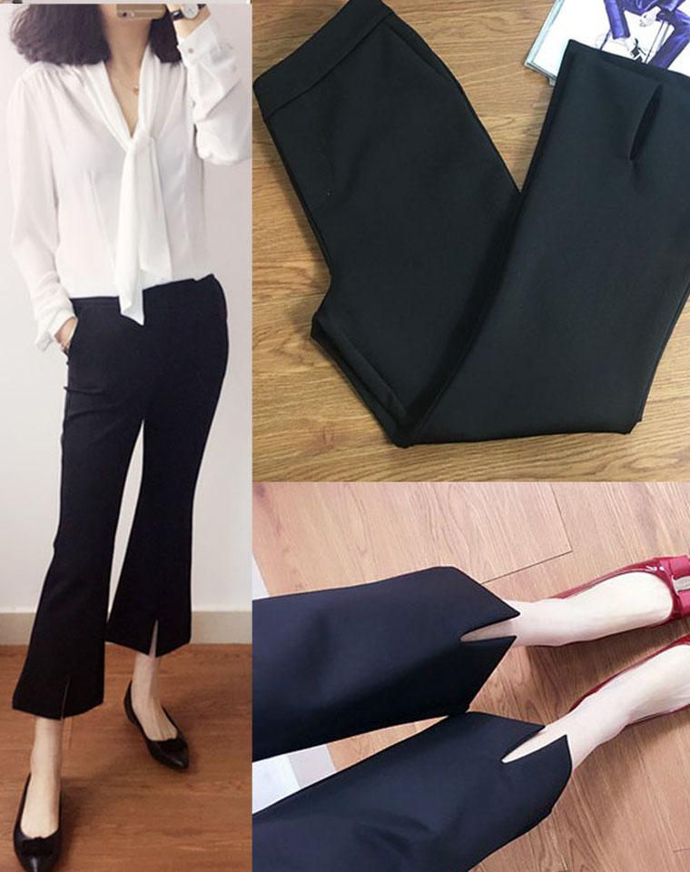 可以上班穿的微喇小黑裤  仅89元   四面弹力高腰中缝裤线 下开气显瘦九分裤