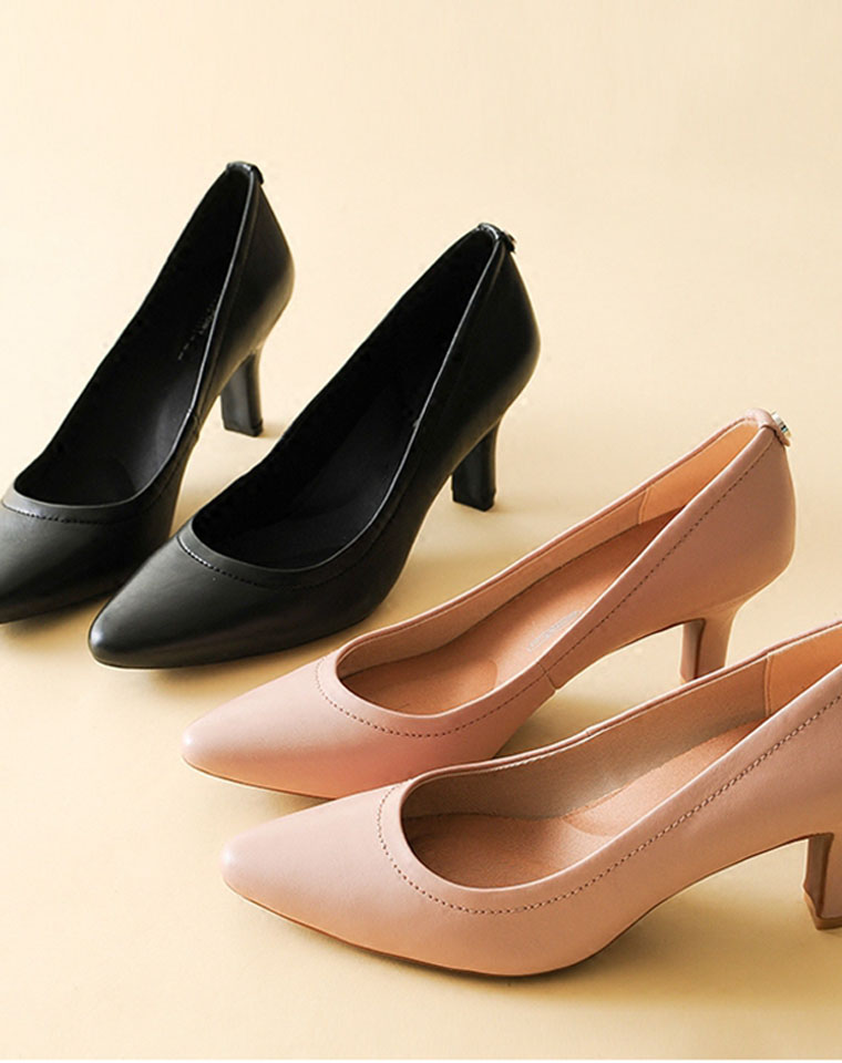 可以奔跑的高跟鞋 仅235元   美国老牌Rockport 乐步 纯色白宫系列  真皮女简约浅口高跟羊皮单鞋OL工作通勤皮鞋