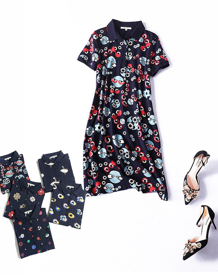 孩儿妈舒适得体装扮  仅115元 日本exmol原单 经典花色翻领  A字型 超好棉质 短袖连衣裙