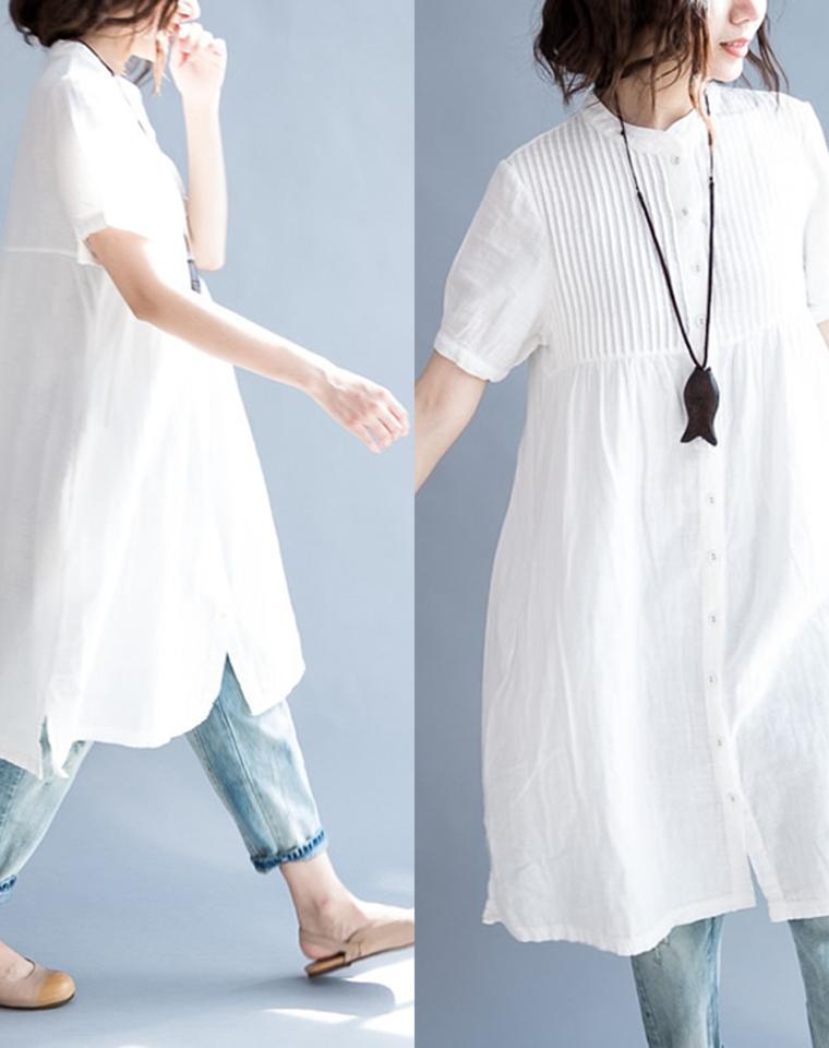 最柔最美的小白  仅95元   双层纱棉  小立领 压风琴折  长款白色衬衫裙   小白裙 轻松拥有好比例 日常减龄 优雅耐看连衣裙