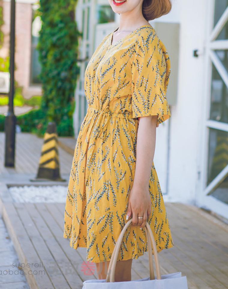 孩儿妈最喜欢的舒适   仅85元 小日本订单 显瘦遮肉彩色大花朵  舒适轻薄棉麻短袖连衣裙