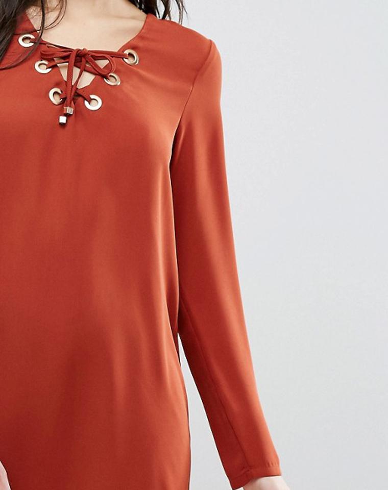 超越想象   仅69元  英国supertrash纯正原单  lace-up绑带领口 长袖连身裙