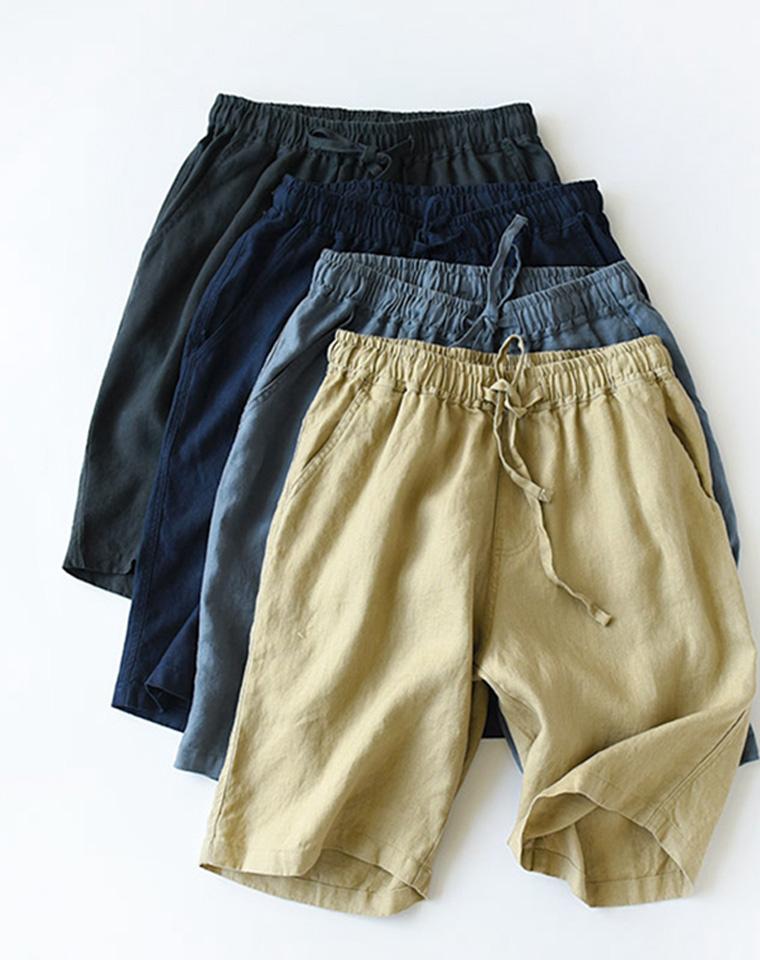 给孩儿爸  给老爸  亚麻 养人的最仅69元  日本订单  男款纯亚麻短裤 简约纯色亚麻短裤