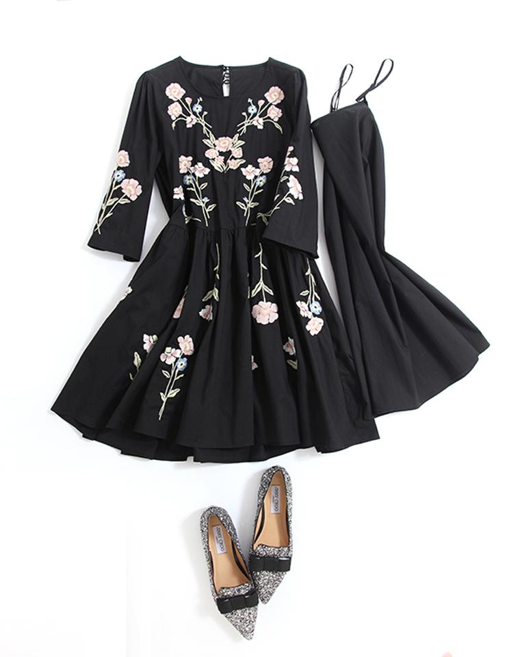 超仙超有范儿 两件套裙    仅268元 重工刺绣仙女又显瘦 收腰A字 七分袖两件套棉质连衣裙