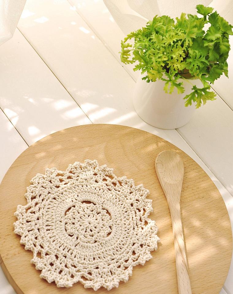午后红茶     出口英国订单  细线手钩本色圆型小杯垫