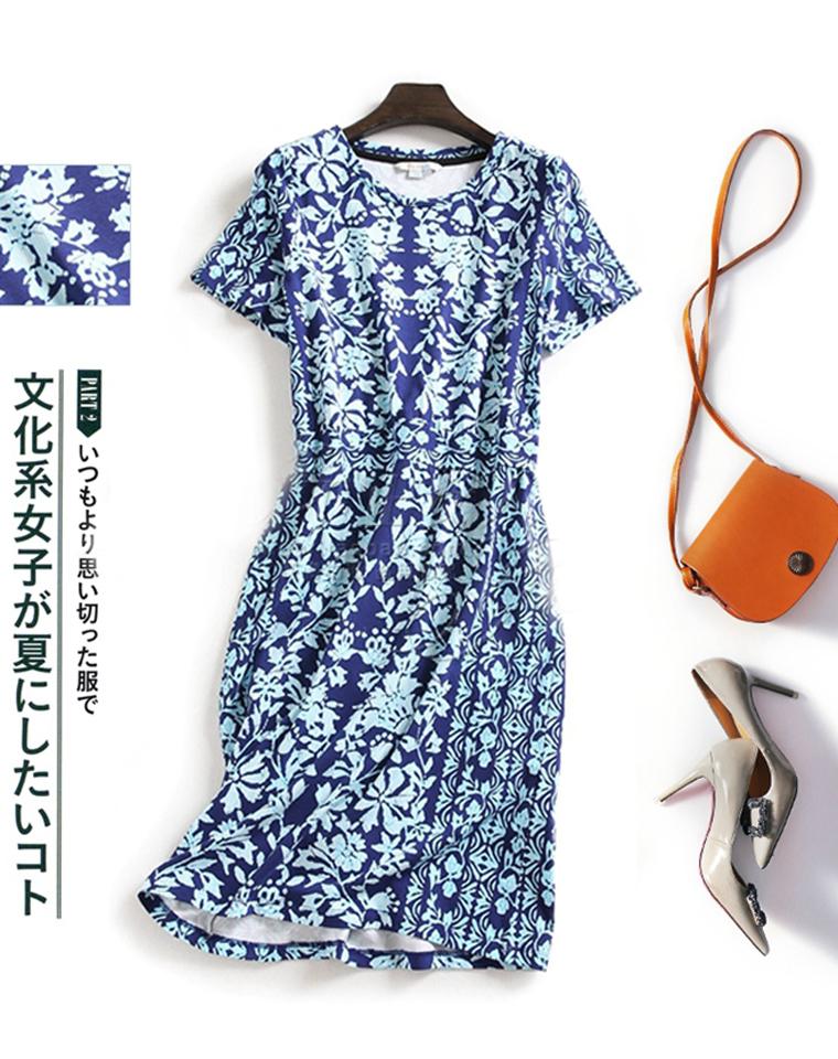 蓝莲花  仅99元  英国boden纯正原单  定位蓝色印花  薄款圆领短袖连衣裙