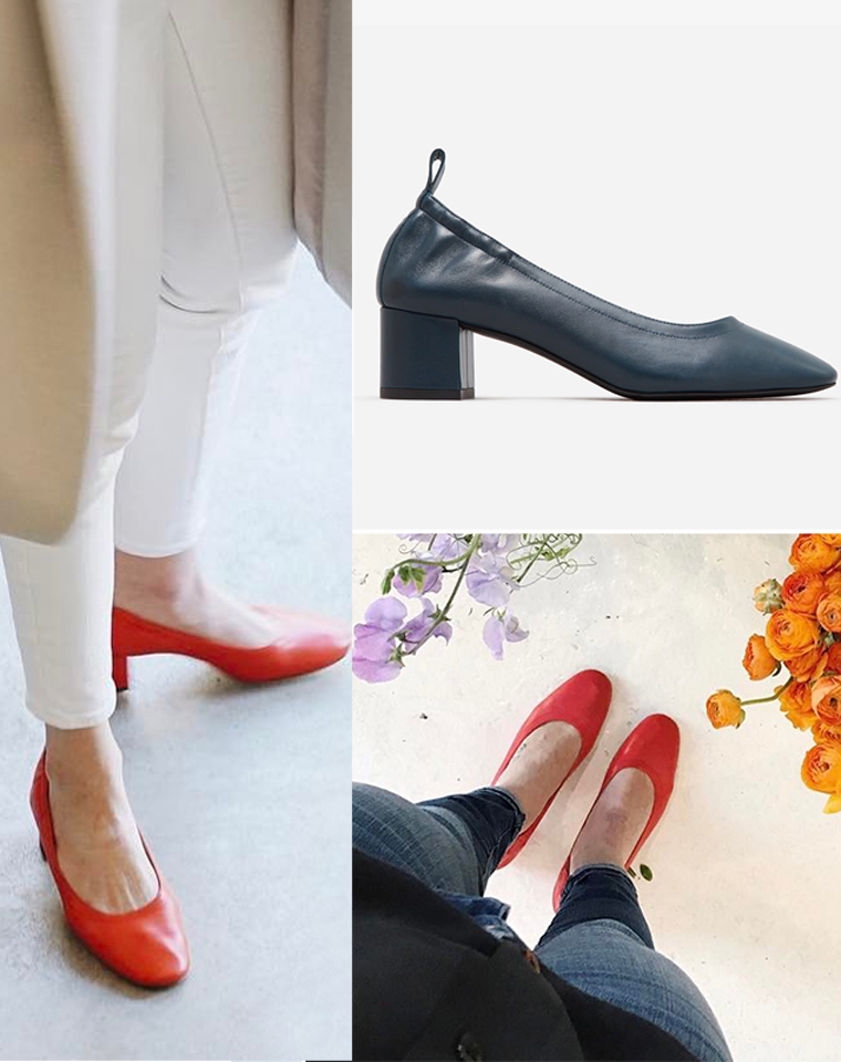有型舒适  仅245元  Everlane The Day Heel羊皮 粗高 柔软后褶皱  单鞋女圆头浅口复古奶奶鞋