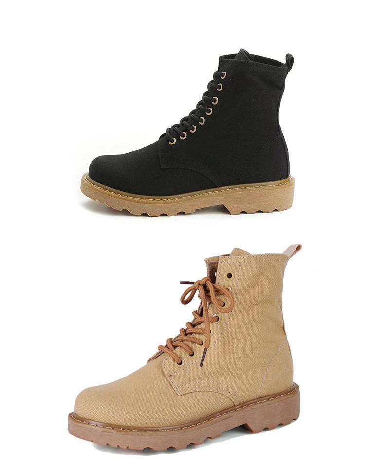 帅气马丁靴  仅145元  秋季新品帆布情侣马丁靴 高帮系带短靴   复古帆布马丁靴
