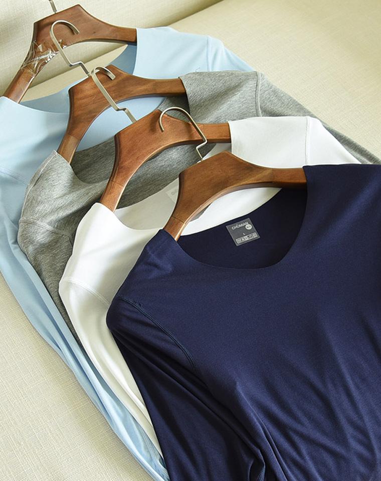 最好穿的无痕出了长袖  给纯爷们の  仅38元  V领T恤 男士无骨缝合随心剪 秋衣