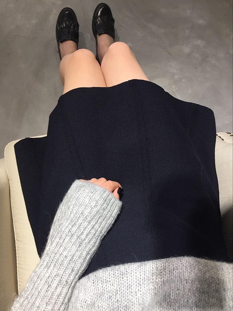 从秋一直穿到冬  人手一条品质高腰裙  仅69元  zara纯正原单 弹力针织竖纹伞裙A字喇叭半身裙短裙