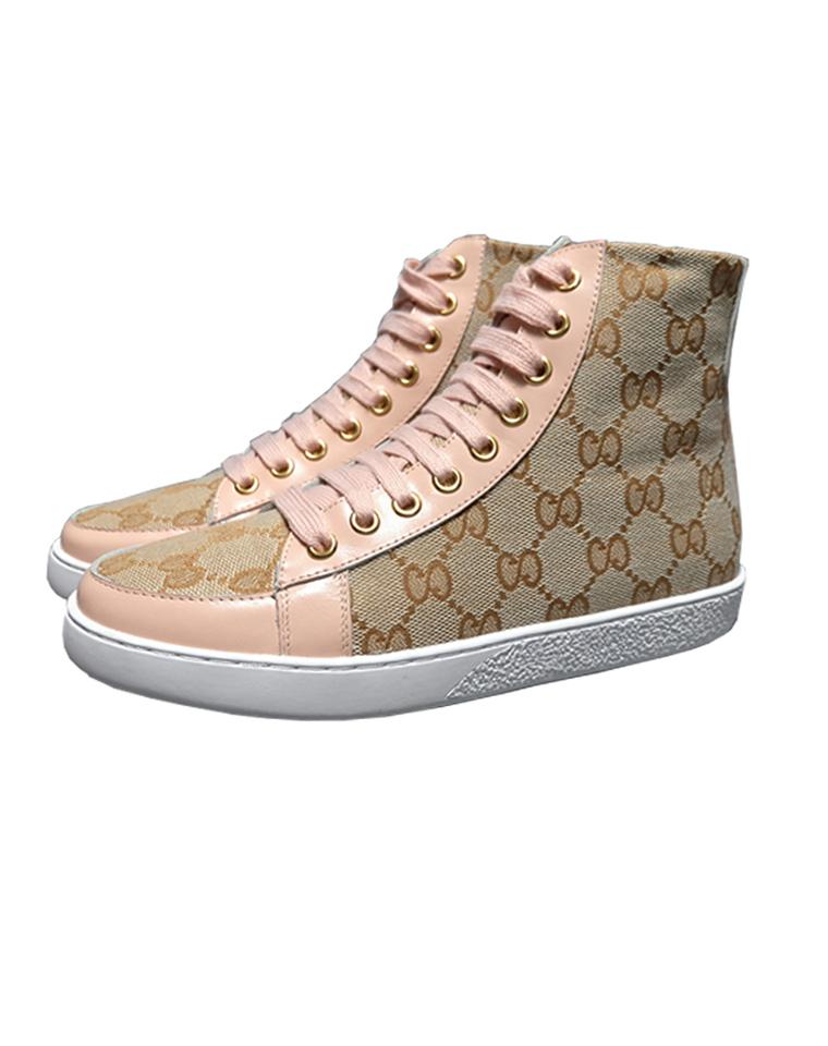 特殊渠道  仅248元  GUCCI秋季新品 高帮系带短靴   复古帆布马丁靴