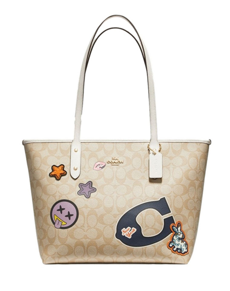 最新时尚减龄  仅248元  美国COACH蔻驰  2017最新  卡通刺绣玩偶 购物袋 tote包 单肩包