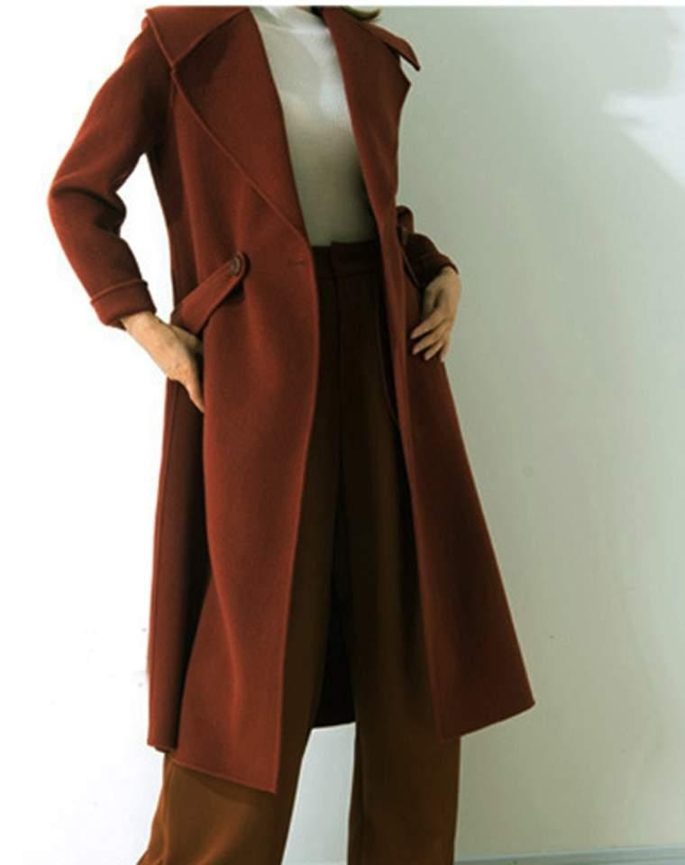 顶级好货  仅868元   大牌订单  翻领双面羊毛呢大衣 时髦通勤推荐