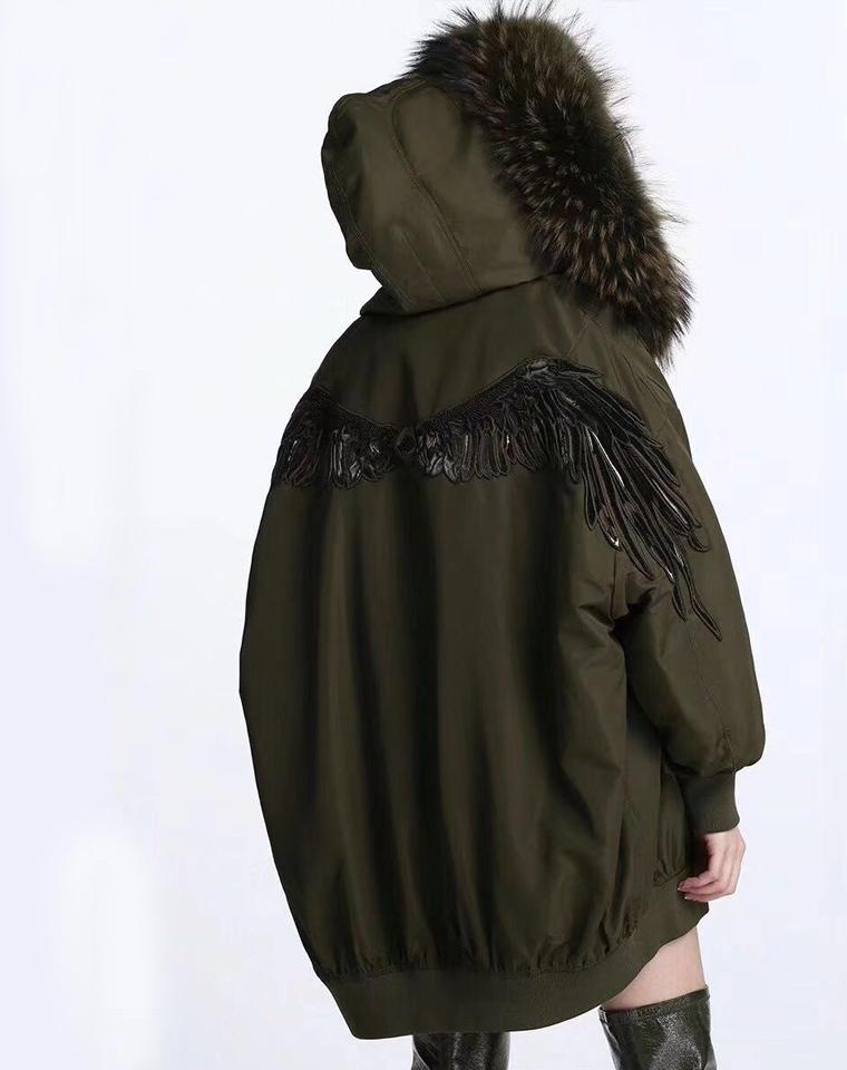 双12特供      仅886元   miss sixty 限量黑天使翅膀  毛皮外套大衣
