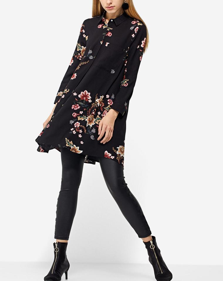 超难得中长打底  仅59元  西班牙Stradivarius音符纯正原单  印花 过臀衬衫裙  打底中长衬衫