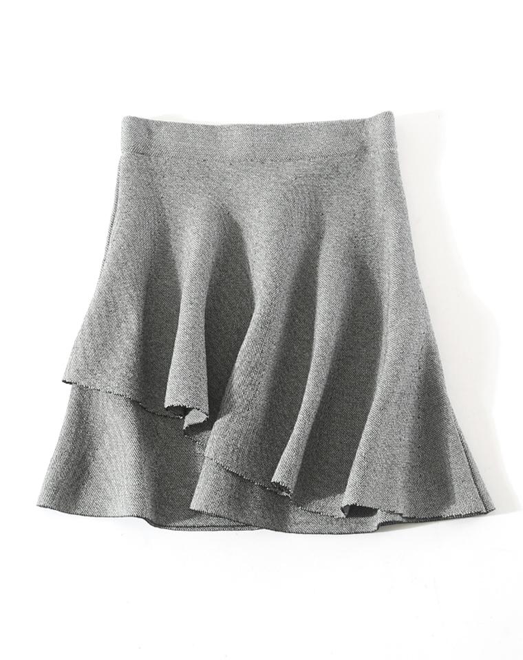 精品  仅69元  减龄显瘦  高腰弹力针织层叠A字小伞裙 半身短裙