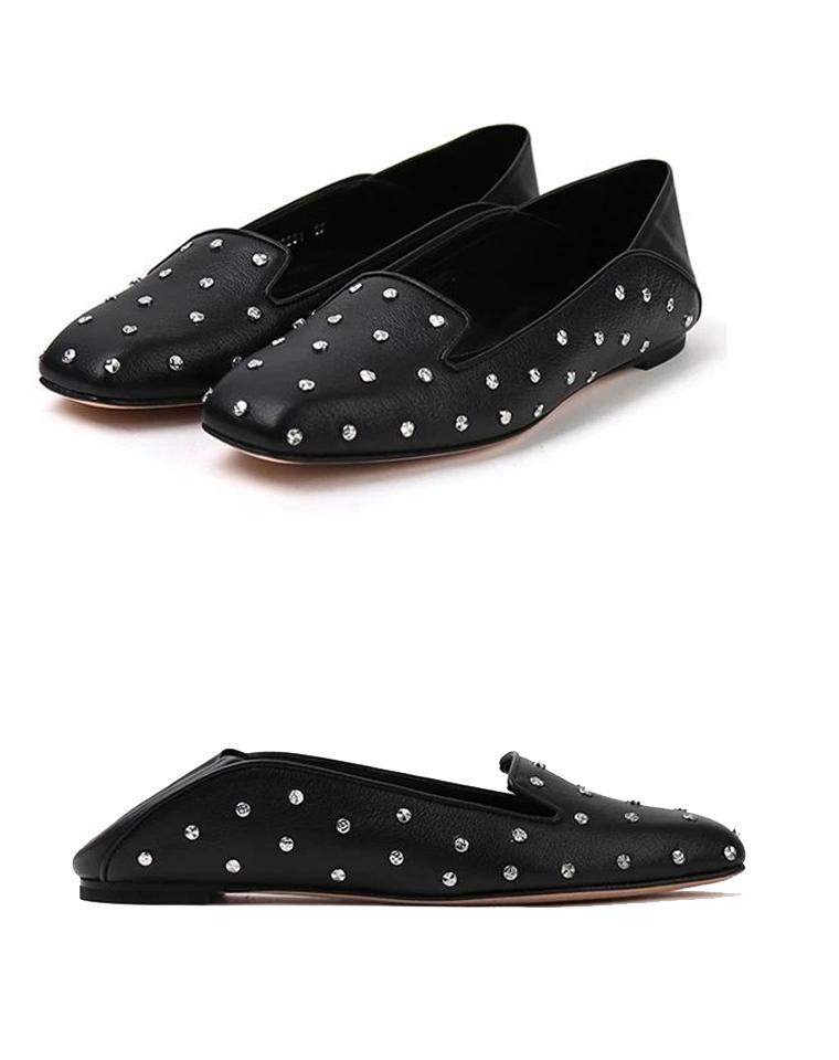 可两穿一双顶两双 美国 MCQ Alexander McQueen麦昆 仅248元  小方头 里外舒适小羊皮 铆钉装饰 船鞋 乐福鞋