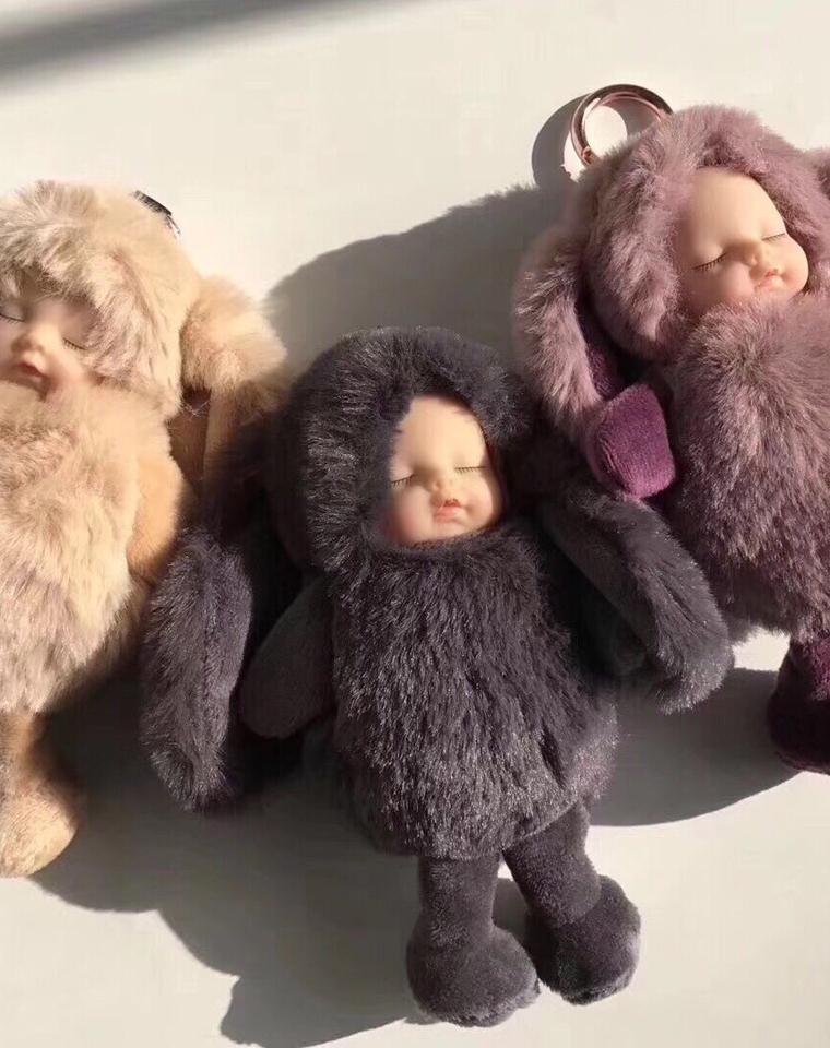 超萌物  仅35元  超好品质搪胶  毛绒睡眠宝宝 钥匙扣 车挂 包包挂饰