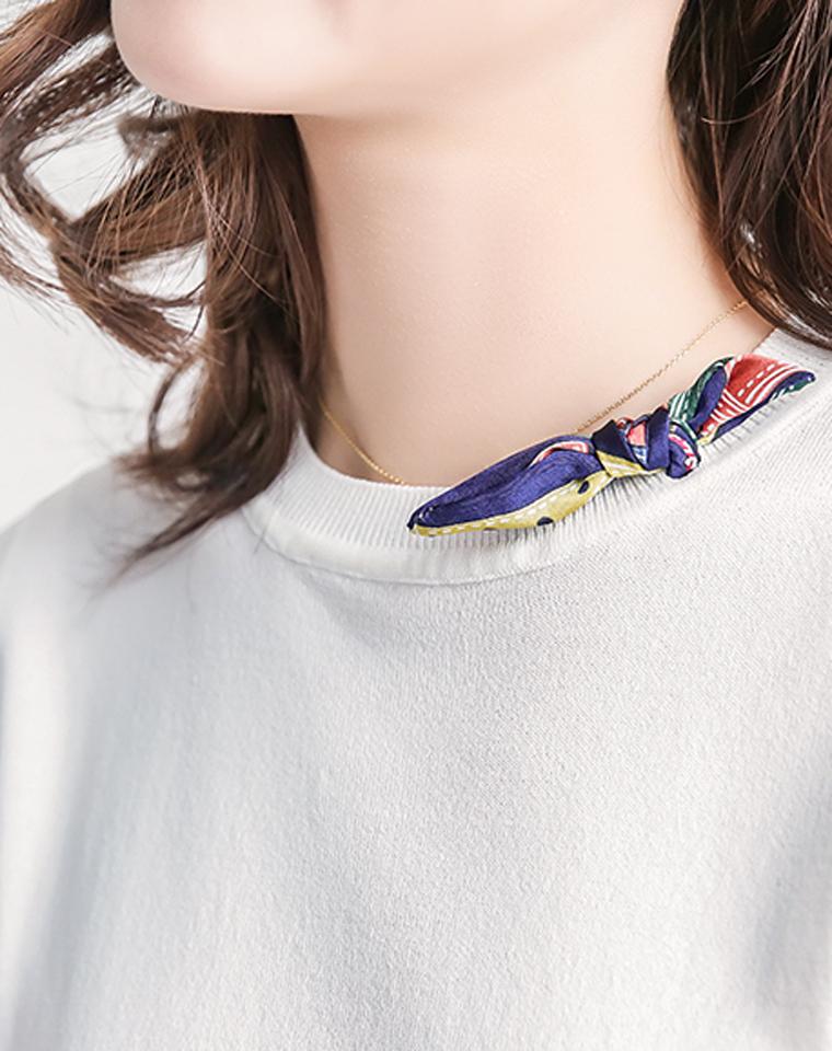 空姐既视感      仅108元 别致小领结 半高圆领短袖冰麻针织衫