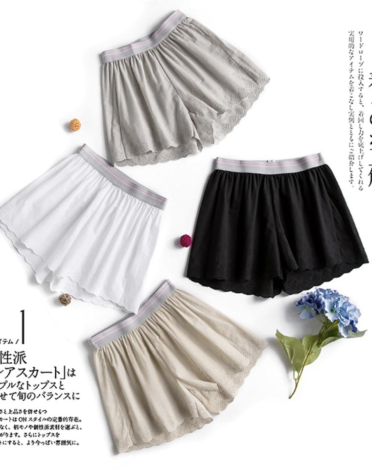 人手必须一条 好品质 仅29元 宽松安全裤更凉快 松紧腰透气薄棉镂空刺绣花边打底短裤