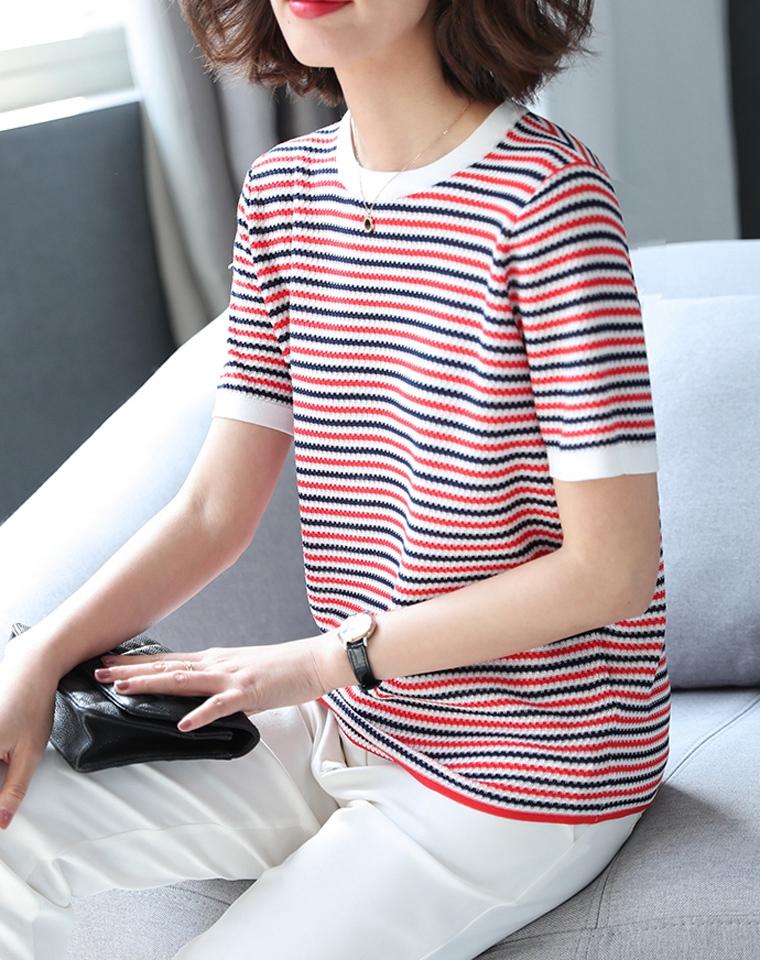 瞬间减龄提肤色  仅88元 超好品质  波浪形拼色条纹 纳米丝+天丝 弹力条纹针织衫短袖女