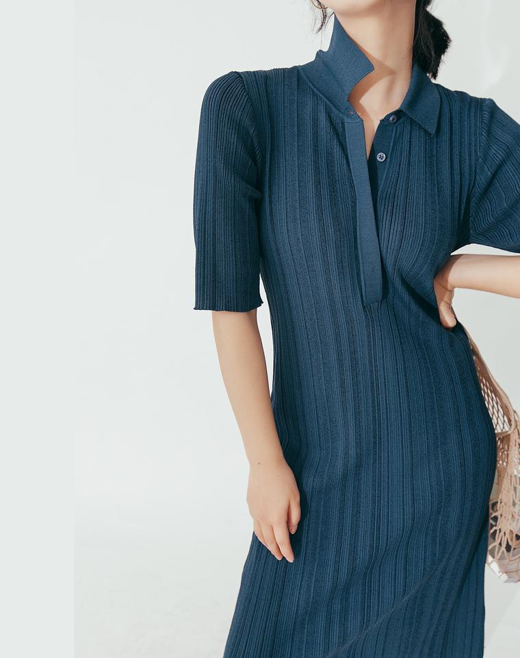 简约北欧风   仅148元  120支冰丝条纹坑条针织裙 修身中长短袖连衣裙
