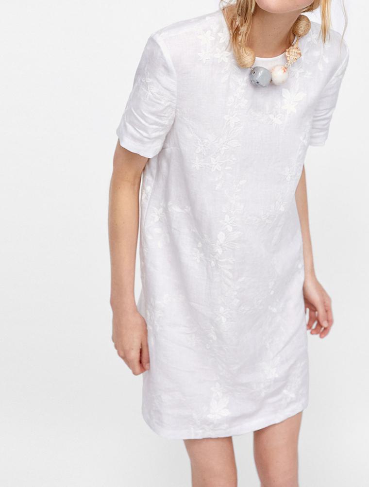 夏天该要有的裙子~清爽亚麻面料 仅89元 小宽松直筒短袖连衣裙