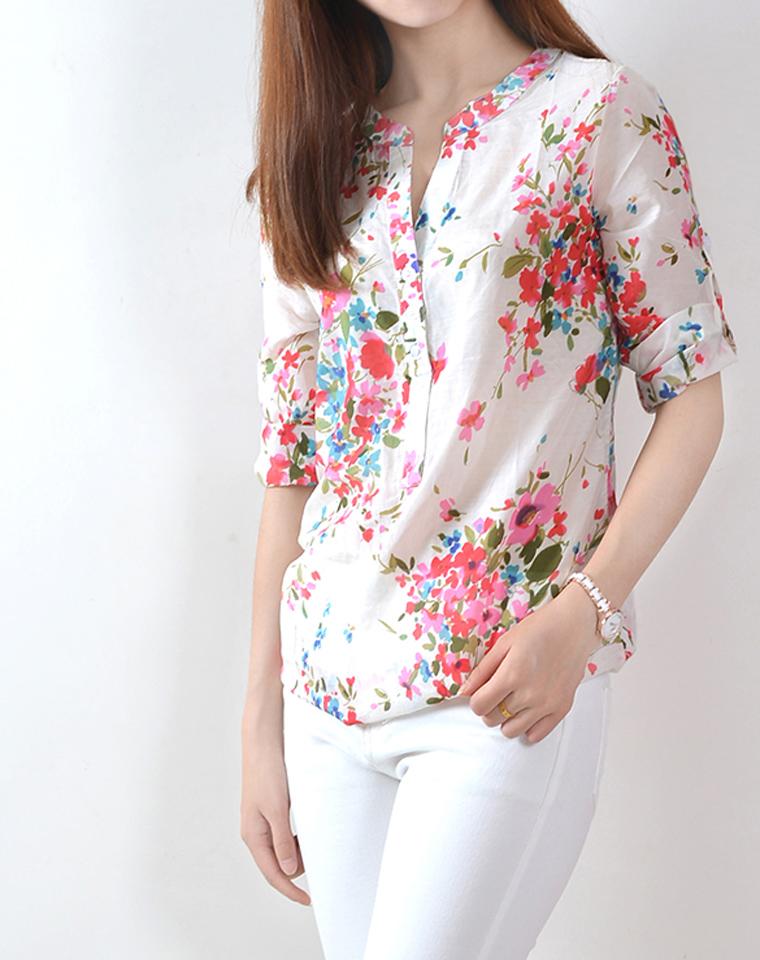 夏日离不了的超薄外搭  真丝混纺  仅85元   半开领花朵中长款衬衫 防晒