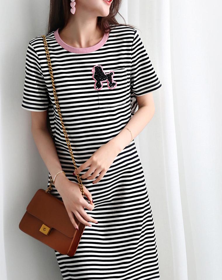 俏皮减龄的T恤裙  仅98元  超好品质 钉珠小狗  条纹短袖连衣裙