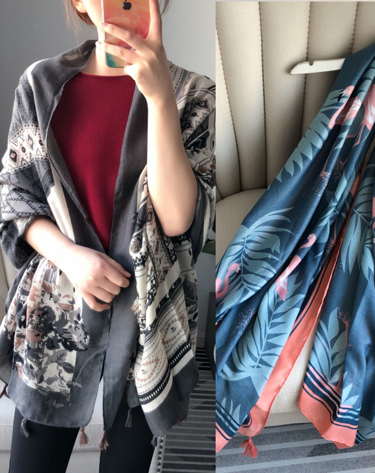 防晒防晒     美夏超实用! 仅29.9元  夏季防晒沙滩巾 清新花色丝巾围巾披肩