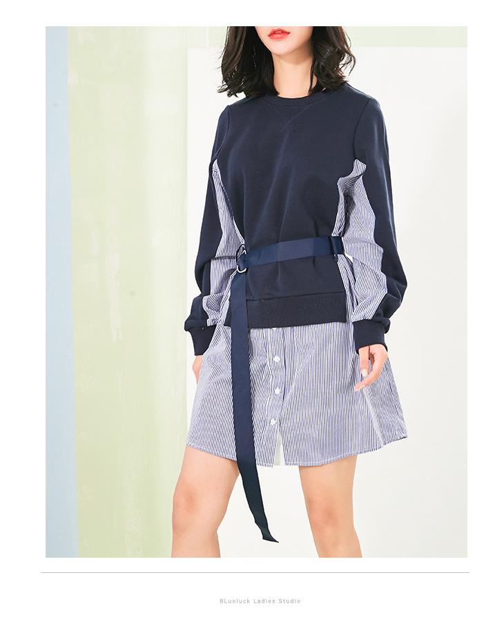 小众设计款 法式chic  仅198元 卫衣拼条纹衬衫  假两件系带连衣裙