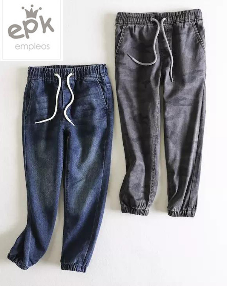 是时候给孩子准备换季裤子了  仅45元 俄罗斯童装NO1品牌EPK纯正原单  男女童  中性宽松 松紧腰抽绳牛仔长裤 束口裤