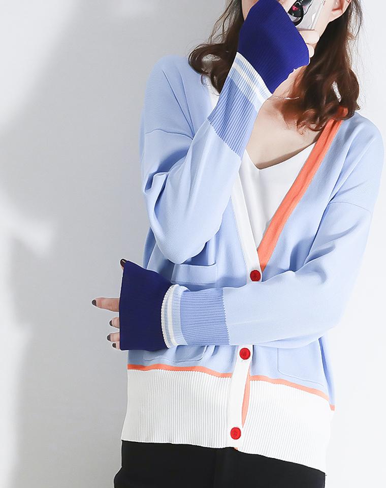 意大利视觉 仅135元 设计师品牌   新品 撞色针织开衫 小众设计拼接撞色清新女款针织开衫早秋外套