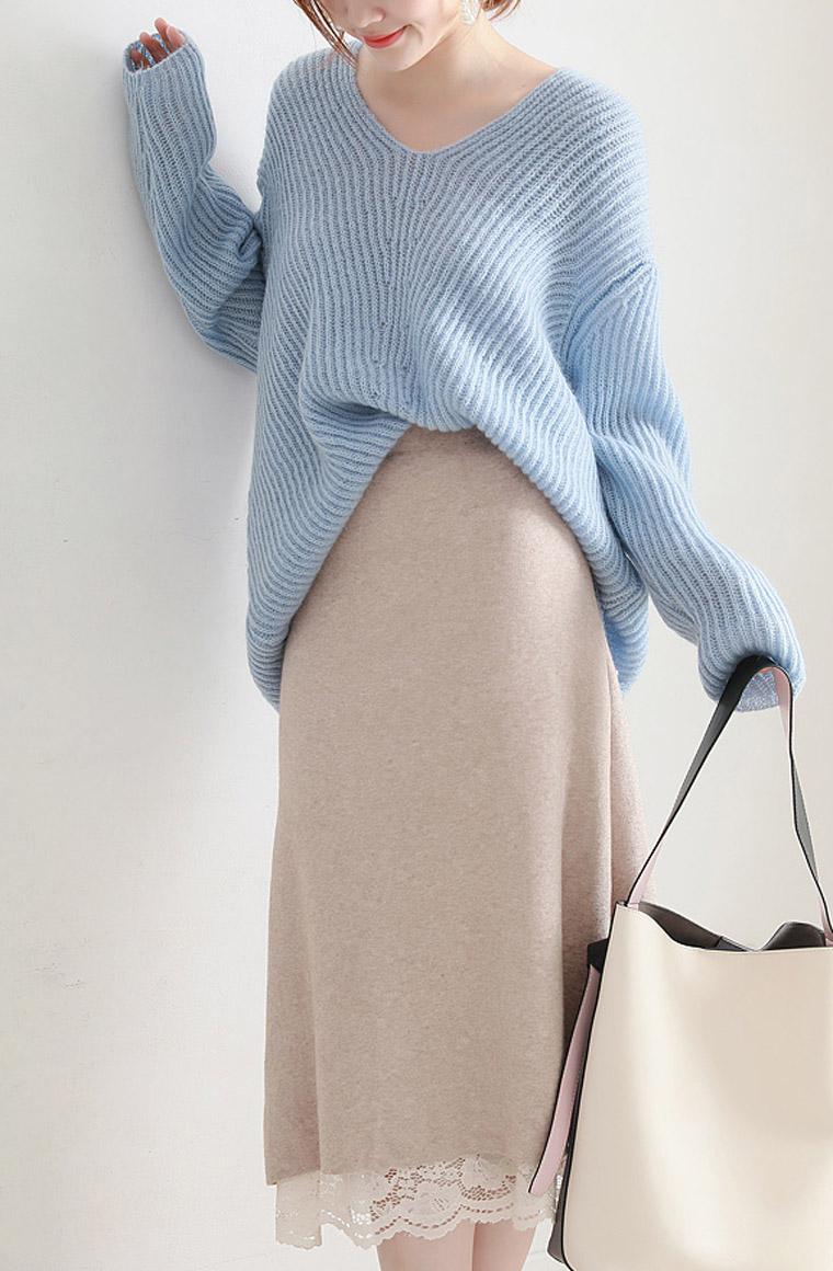 重工秋裙首发款 一件顶两件  仅128元  超好品质  法式chic  松紧腰针织蕾丝双面 两色半身裙  18秋季新款