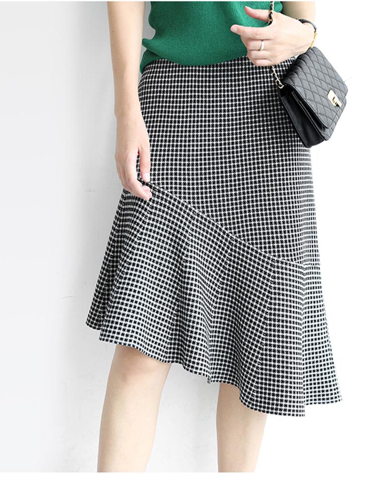 优雅小千鸟格纹  仅128元  斜裁荷叶摆过膝中长裙针织半身裙